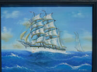 Stunning Small Framed Painting Old Sailing Ship Signed Art Boat Clipper Nautical Maritime Picture