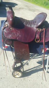 Tooled High Plains Tucker Trail Saddle in New Condition
