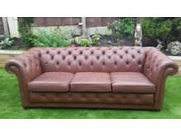Brown chesterfield 3 seater couch
