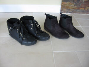 2 Pairs of Womens Size 6 Black Runners & Boots