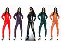 FAUX LEATHER CATSUIT BLACK RED GREEN PURPLE CREAM Size 6-16 UK NEW WITH TAGS