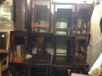 Job lot of 14 vintage oak dropleaf dining tables