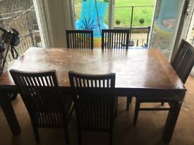 Solid wood table with 5 chairs