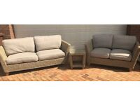 M & S 2 seater and 3 seater sofa with cube table.