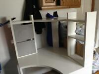 IKEA White and grey corner desk.