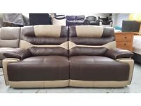 Ex-Display ScS Venus Brown/Prado Leather 3 Seater Electric Recliner Sofa Can/Del View collect NG177