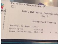 BWF Badminton World Championship Tickets x4 (Day Two Only)