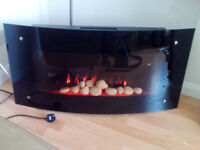 Curved glass electric fire with remote control