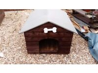 4' X 3' WOOD DOG KENNEL WITH NEW FELT ROOF (WITH BONE FOR NAME :-)) FREE LOCAL DELIVERY
