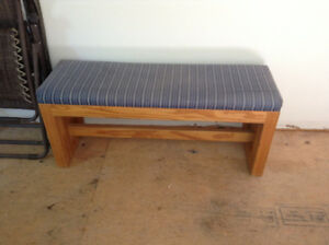 Beautiful solid wood bench with upholstered cushion top for sale