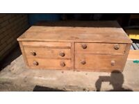 VERY OLD, SOLID BESPOKE, LOW, LARGE DRAWER UNIT