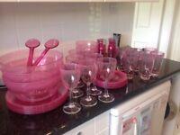 Pink BBQ Crockery & Cutlery