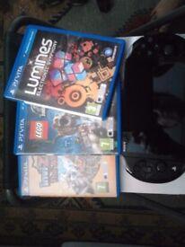 PS Vita, used 1 year, black + 3 games