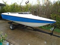 SPEEDBOAT 14'6 BOAT with STEERING on TRAILER