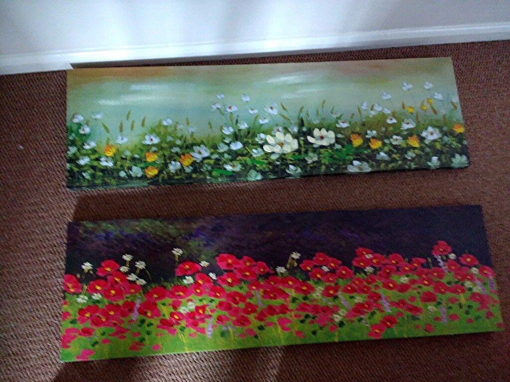 2 x WILD FLOWER canvas prints 40 x 4 inch EXCELLENT condition