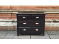 Vintage Solid Wood Chest of Drawers with industrial handles