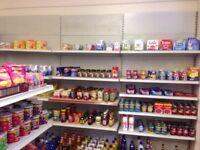 Full shop shelves, display unit & till