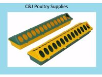 NEW CHICK QUAIL AVIARY TROUGH FEEDER PLASTIC 50CM GREEN AND YELLOW