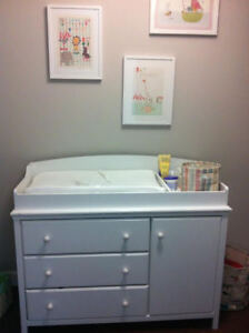 Change table from South Shore + small night table (both white)