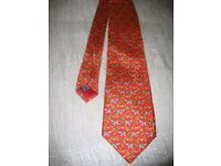 Tie - Beautiful 100% Silk Red Elephant Theme, New Condition