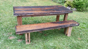 Reclaimed wood - harvest table and matching bench