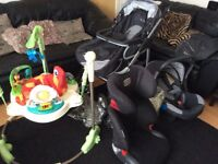 Grey silver cross buggy, with baby jumperoo and 2 car seats