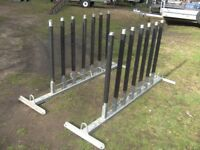 NEW / UNUSED 2 X GALVANISED CYCLE RACKS AS REMOVED FROM A NEW FLATBED TRAILER..