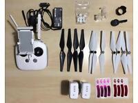 DJI Phantom 3 batteries, propellers, controller, and general accessories