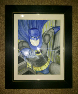 Batman The Animated Series Watercolour Painting 8.5 x 11 inch