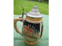 Decorated German Style Beer Mug with Pewter Lid