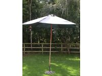 2.5m wide Parasol with steel base/stand.