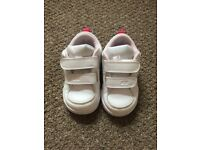 Toddler White Nike Trainers with Pink Tick
