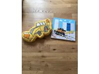 Boys digger bedroom accessories- cushion & canvass