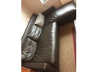 Habitat brown leather corner sofa £40 ONO MUST GO