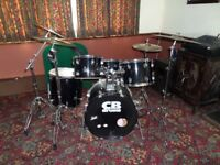 Drum kit 5 drums hi-hat 4 cymbols & stands made by CB. I think its a rock kit