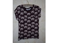 Generation Age 12-13 Cotton Girls T Shirt with Elephant Design in Wine Red and White
