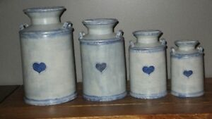 Hand painted 4 piece country canister set