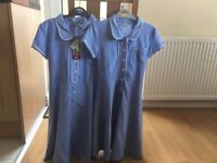 2x Royal Blue School Gingham summer dresses
