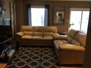 Tan leather couch/loveseat/ottoman