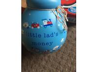 Brand new in box little lads money box