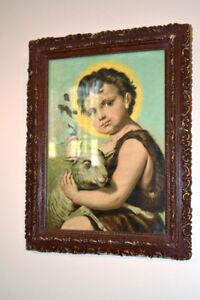 Antique/Antiquité :    Cadre religieux enfant