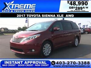 2017 TOYOTA SIENNA XLE AWD *INSTANT APPROVAL $0 DOWN $289/BW