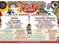 Hope and glory festival liverpool..2 tickets for saturday... £80 for the pair