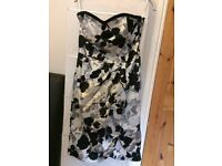Coast formal dress, size 10, strapless, Black, White, grey, cream