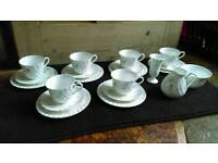 Wedgwood Campion Bone China Tea Cups Saucers, Milk Jug, Sugar Bowl, Flower Stem Vase Set