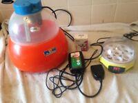 12 egg incubator 7 egg incubator and a thermostat