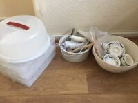 Cake carriers, mixing bowls, electric carver, chinese tea set