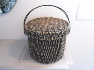 LOVELY WICKER BASKET WITH COVER FOR SALE