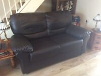 3 +2 seater black leather settees.immaculate.