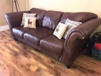 Brown Leather 3-seater Settee